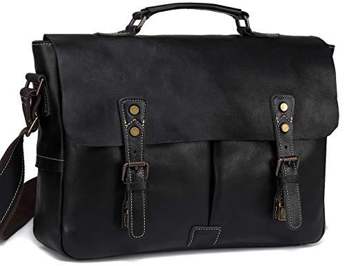 - Leather Messenger Bag for Men, VASCHY Handmade Full Cowhide Leather Vintage Satchel 15.6 inch Laptop Business Briefcase Travel Shoulder Bag Black