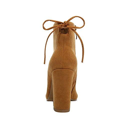 Pelle Spillo Alto A Stivaletti Donna Con Zip Cammello Tacco Laterale In Da HCwH84FSq