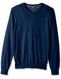 Men's Fine Gauge Solid V-Neck Sweater, Estate Blue, Small