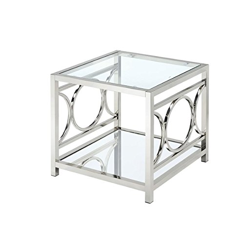 BOWERY HILL Square End Table in Chrome