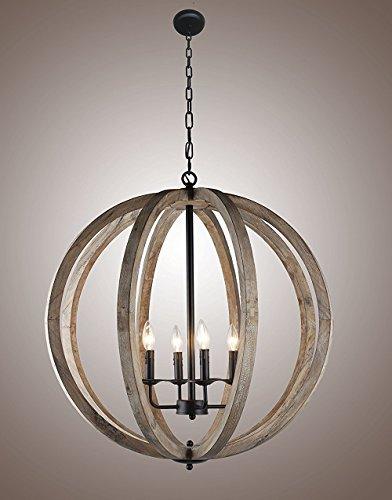 Wooden Globe Pendant Light
