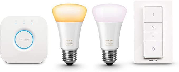 Philips Hue White Ambiance - Kit de 2 bombillas LED E27, puente e ...