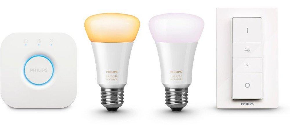 Hue Weiß Ambiance  LED Lampe E27 Starter Set inkl. Dimmschalter und Bridge, 2.200 K bis 6.500 K, dimmbar, kompatibel mit  Amazon Alexa (Echo, Echo Dot), Frustfreie Verpackung