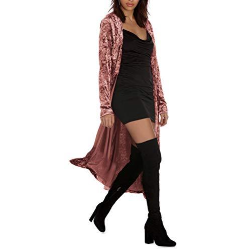 wlsomegoo Womens Long Velvet Cardigan Open Front Vintage Outerwear Maxi Long Sleeve Blazers Coat