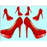 """10"""" x 7.5"""" Red Stiletto High Heel Shoes Edible Image Cake Toppers Decorations on Edible Wafer Rice Paper"""
