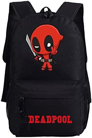 Yournelo Boys Cool Deadpool Canvas School Backpack Bookbag Black F