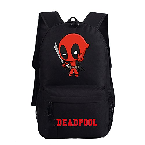 YOURNELO Boy's Cool Deadpool Canvas School Backpack Bookbag (Black F) -