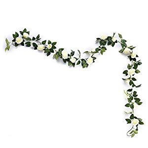 Mikash Artificial Rose Vine Flowers with Green Leaves 7.5ft Fake Silk Rose Hanging Vine Flowers Garland Ivy Plants for Home Wedding Party Garden Wall Tion (Cream) | | Model WDDNG - 2352 73