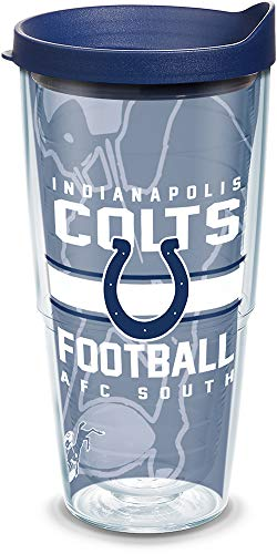Tervis 1180546 NFL Indianapolis Colts Gridiron Tumbler with Wrap and Navy Lid 24oz, Clear