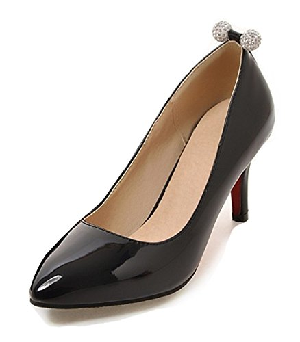 Aisun Womens Sexy Pointed Toe Low Cut Dress Stiletto Kitten Heels Slip On Wear To Work Pumps Shoes Black 5CZCeG