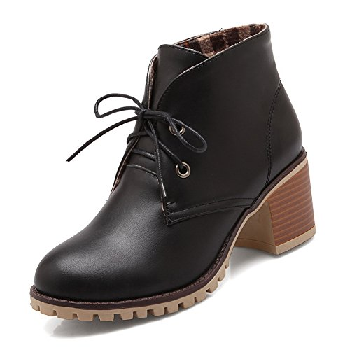 BalaMasa Womens Cold-Weather Bandage Imitated Leather Boots Black cRVryd91Zu