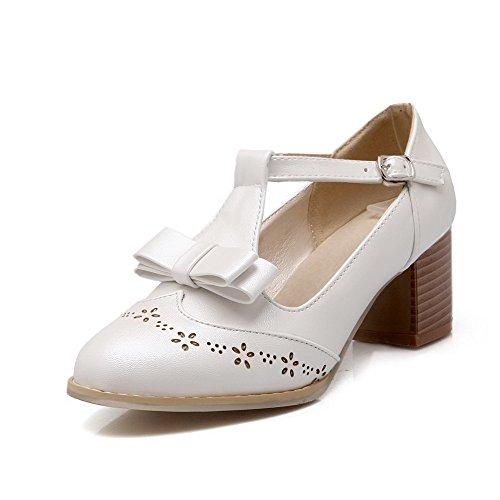VogueZone009 Damen Mittler Absatz Rein Schnalle Weiches Material Rund Zehe Pumps Schuhe Weiß