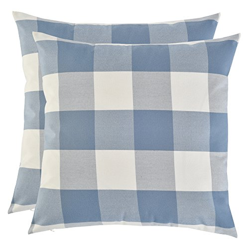 Set of 2, Artcest Decorative Cotton Blend Dyed Bed Throw Pillow Case, Sofa Durable Plaid Pattern, Comfortable Couch Cushion Cover (Light Blue, 18 X 18 (Plaid Toss Pillow)