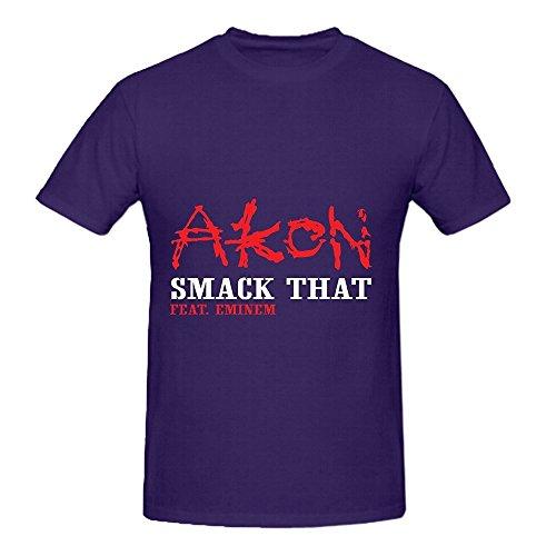 Akon Smack That Tour 80s Men Crew Neck Cool Tee Purple