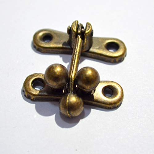 5 Sets Antique Brass Latch Hasps Decorative Bronze Vintage Locks with Screws for Jewelry Case Wooden Boxes (Length:1-5/16