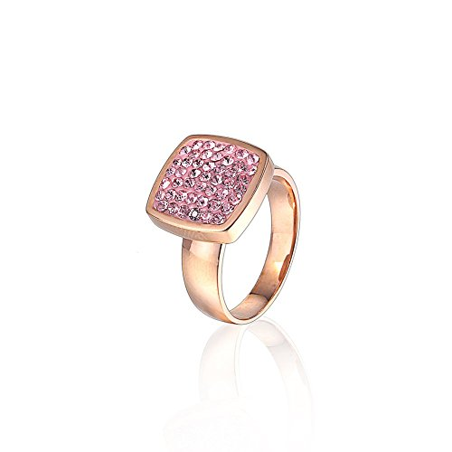QIQIAO Diamond Engagement Rings for Women, Square Shaped Rose Gold Plated Full Crystal Wedding Bands, Best Promise Rings for Mom, Girlfriend and (Square Shaped Stones Ring)