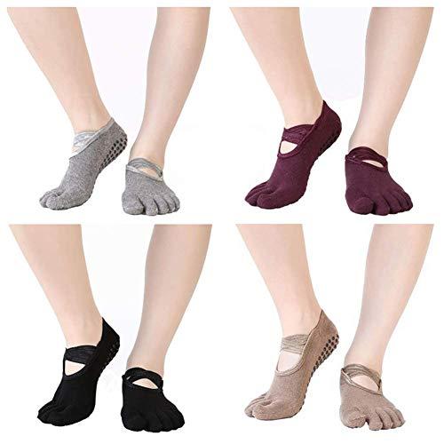Antibacterial Womens Non-Slip Yoga Socks with Full Toe for Pilates Barre Bikram Ballet Anti-Skid Socks 4 Pack
