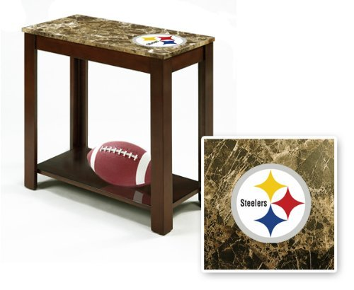 Rectangular Top Espresso / Cappuccino Finish Night Stand End Table with Faux Marble Table Top Featuring Your Favorite Football Team Logo! (Steelers)