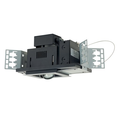Jesco Lighting MG1650-1EWB Modulinear Directional Lighting for New Construction, Double Gimbal 50W MR16 1-Light Linear, Black Interior with White Trim