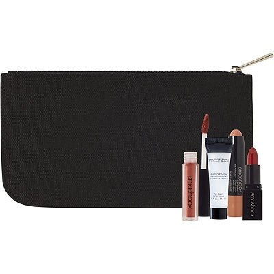 Smashbox Five Piece Makeup Set With Cosmetic Bag Photo Finish Primer Lipstick Lip Gloss Cheek Color