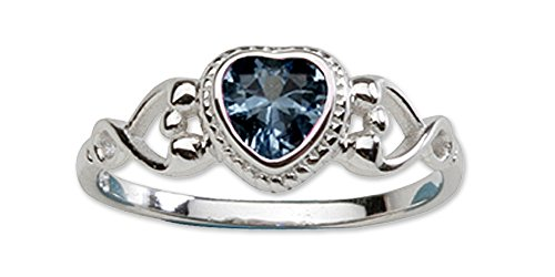 - Sterling Silver September CZ Simulated Birthstone Baby Ring with Heart