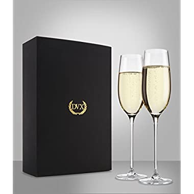 The Excelsior - 100% Lead-Free Handmade Crystal Champagne Flutes, Set of 2 Glasses