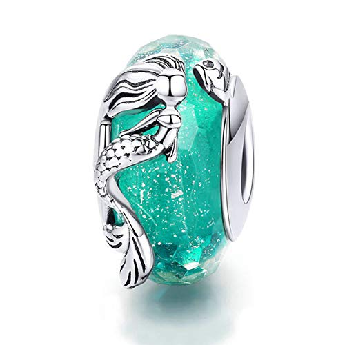 Murano Chain Bracelet - 925 Sterling Silver Charm fit Snake Chain Charms Bracelet Murano Glass Bead Flower Charm Birthday Gifts Women Jewelry (Mermaid Charm)