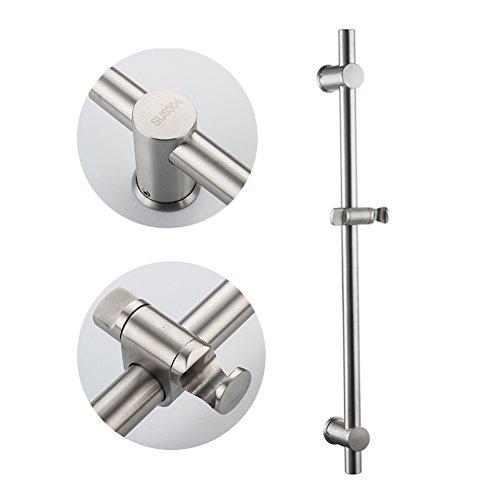 Neady Shower Slider Bar 26 Inch Stainless Steel Brushed Nickel Lead-Free Handheld Shower Heads' Assister Adjustable Shower Arms & Slide Bars Wall Mounting Hardware Showerhead Holder