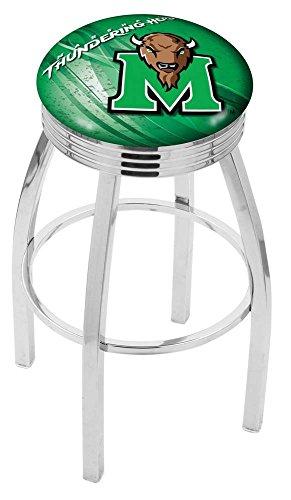 "Holland Bar Stool Officially Licensed L8C3C Marshall University Swivel Bar Stool, 30"", Chrome"