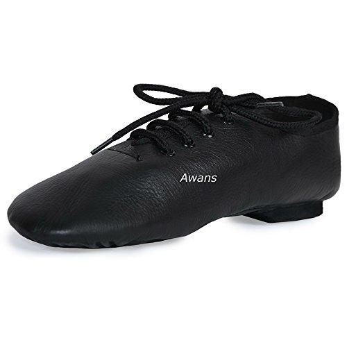 aus reinem Leder, Split Sohle aus Wildleder Jazz Dance Schuhe, Schwarz