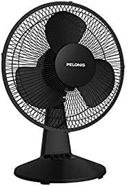 PELONIS PFT30T2ABB-V Portable 3-Speed 12-Inch Oscillating Table Air Circulation Fan, Black, 2020 New Model