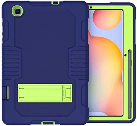 A-BEAUTY Case for Samsung Galaxy Tab S6 Lite 10.4 Inch 2020 (Model: SM-P610/P615) [Heavy Duty] [Shockproof] [Kickstand], Stand Cover with [Screen Protector] [Stylus Pen], Navy Blue Yellow Green