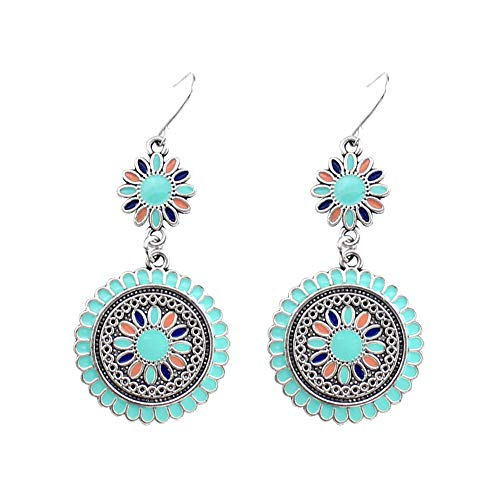 (Lx10tqy 2Pcs Stylish Vintage Women Double Round Daisy Pendant Hook Earrings Jewelry Banquet Gift Green)