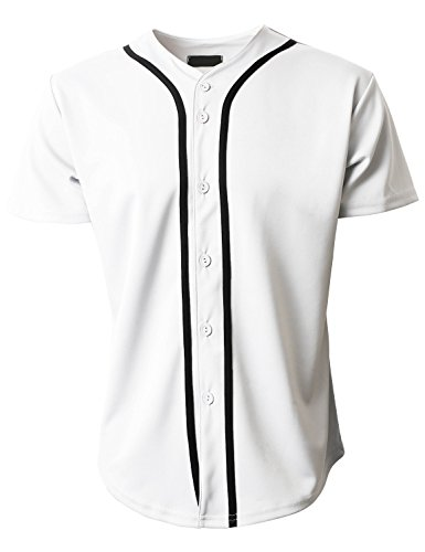 Hat and Beyond Mens Baseball Jersey Button Down T-Shirts Plain Short Sleeve 1UPB0001 (X-Large, 1up01_White/Black) (Dodgers Black Jersey)