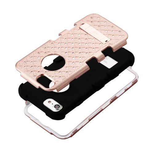 ShopAegis - [HYBRID RHINESTONE] [Rose Gold/Black] Sparkle Web Pattern Shockproof Armor Phone Cover Case for Apple iPhone 8/7 by ShopAegis (Image #3)