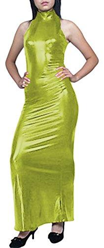 Damenkleid Maxikleid Gold metallisch glänzend von Howriis Y ärmellos rBqHw6r
