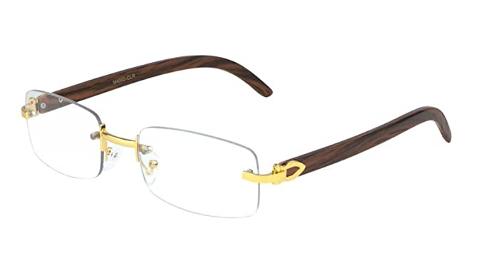 ff7804866b53 Amazon.com  Dapper Rimless Rectangular Metal   Wood Eyeglasses   Clear Lens  Sunglasses - Frames (Gold   Cherry Wood