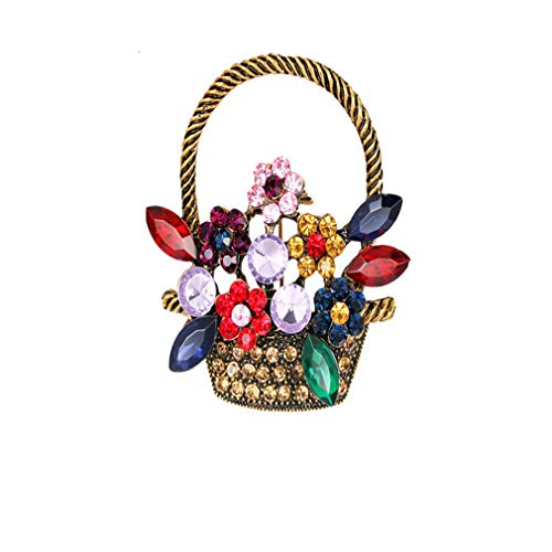 DONGMING Ancient Gold Tone Colorful Rhinestones Spring Floral Basket Brooch Pin Crystal Hat Brooch Corsage Scarf Clip Collar Jewelry,Flower Basket,4.3x3.9cm