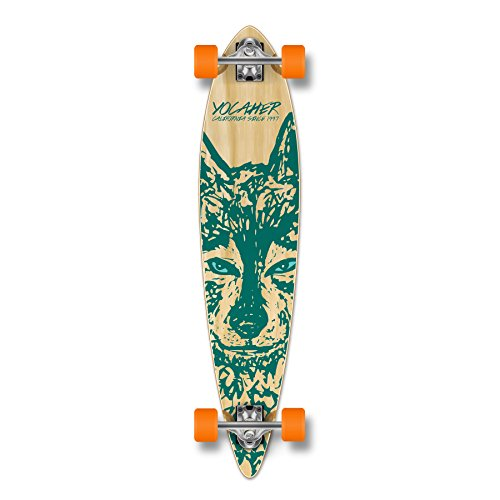 Yocaher Spirit Wolf Longboard Complete Skateboard Cruiser - Available in All Shapes (Pintail) (Longboard Loaded Pintail)
