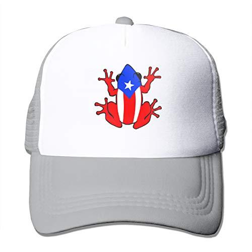 Baseball Caps Puerto Rico Rican Frog Trucker Hat Snapback Mesh Novelty Hats Gray