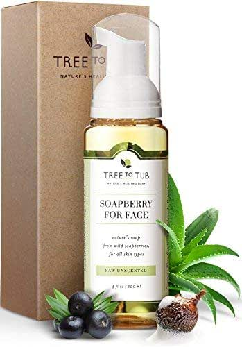 Ultra Gentle, Unscented Sensitive Skin Face Wash by Tree To tub - pH 5.5 Balanced, Hypoallergenic Foaming Facial Cleanser for Women and Men with Soapberries. Ideal for Rosacea, Eczema, Psoriasis 4 oz