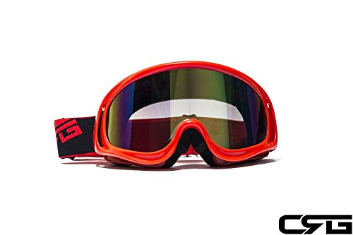 CRG Sports Motocross ATV Dirt Bike Off Road Racing Goggles RED T815-3-2A T815-3-2A Multi-color lens red frame Red Dirt Bike