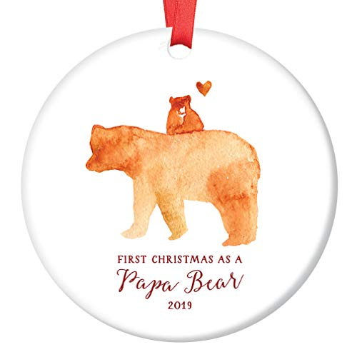 Papa Bear Ornament 2019 First Christmas as a Daddy, New Father Porcelain Ceramic Ornament, 3 Flat Circle Christmas Ornament with Glossy Glaze, Red Ribbon & Free Gift Box | OR00056 Trappe