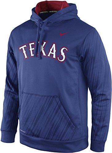 Nike Texas Rangers Speed KO Name Wordmark Logo Therma-FIT Pullover Hoodie (Large,Blue)