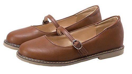 Amoonyfashion Mujeres Pu Round Round Cerrado Tacones Bajos Hebilla Solid Bombas-zapatos Marrón