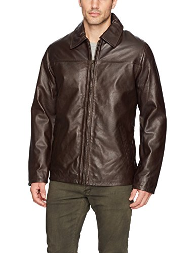 Excelled Men's Lambskin Leather Shirt Collar Jacket, Brown, X-Large
