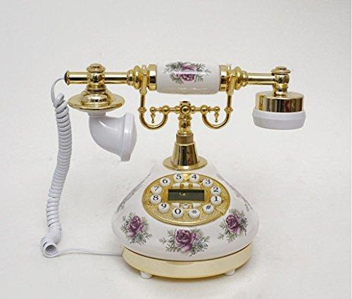 ZWC Landline telephone vintage retro telephone antique telephone style boutique creative garden porcelain phone , golden (Phone Porcelain)