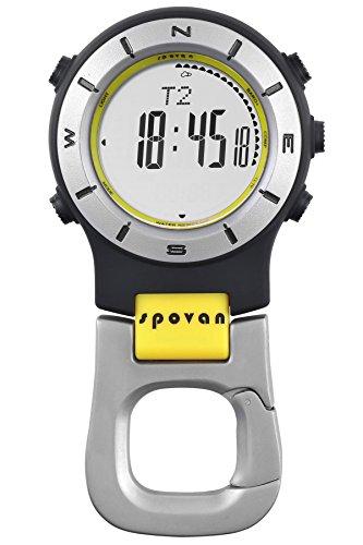 Spovan Altimeter Barometer Compass LED Sports Digital Clip Pocket Watch
