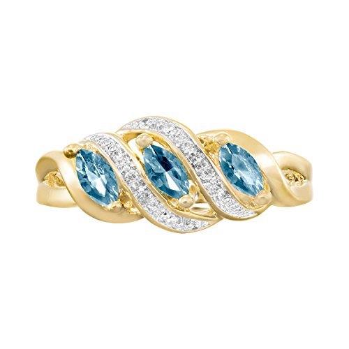ArtCarved Heart Charm Simulated Blue Zircon December Birthstone Ring, 10K Yellow Gold, Size 6.5