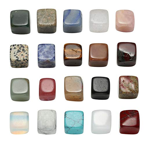 PESOENTH Natural Tumbled Stone Healing Reiki Crystal Chakra Polished Gemstone Collection Box for Wicca,Energy,Jewelry Making,Home Decoration,20 Dice Shaped Assorted Mixstones 0.59